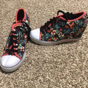 Lightly worn wedge sneakers